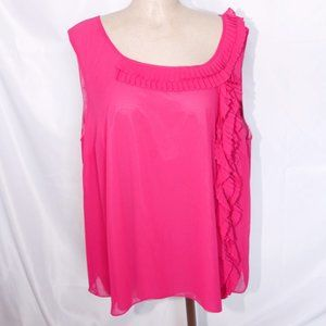 DKNY hot pink silk blouse